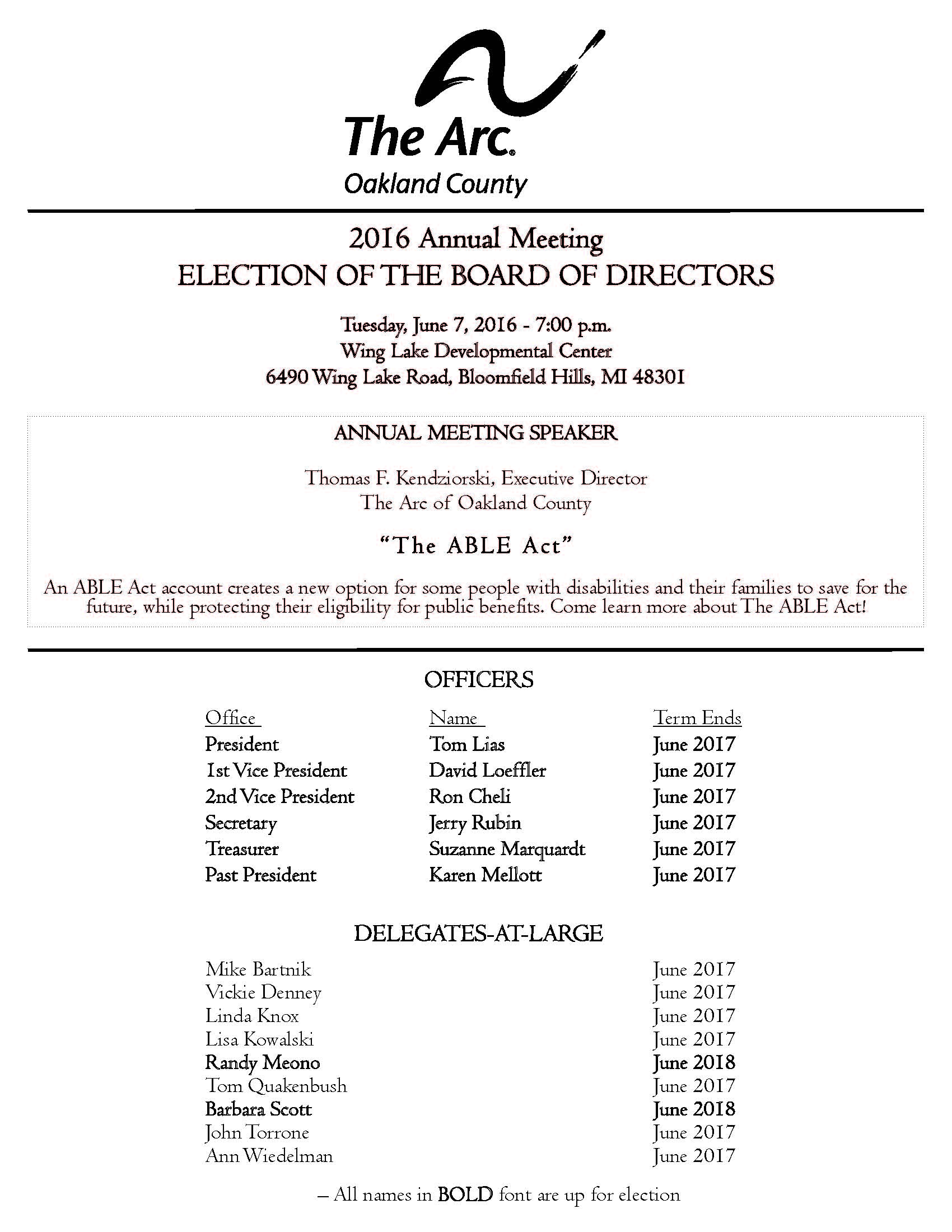 The Arc of Oakland County's 2016 Annual Meeting & Election of the Board of Directors_Page_1